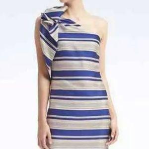 Banana Republic one shoulder blue stripe bow dress